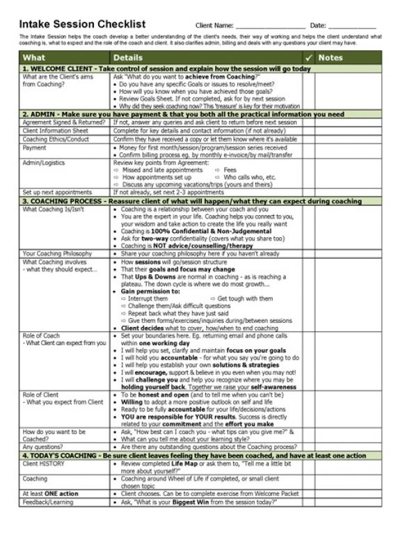 Intake Session TEMPLATE Checklist Template - coaches resume
