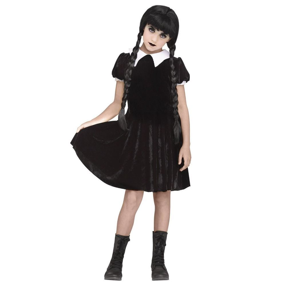 details about girl's gothic wednesday addams black dress halloween