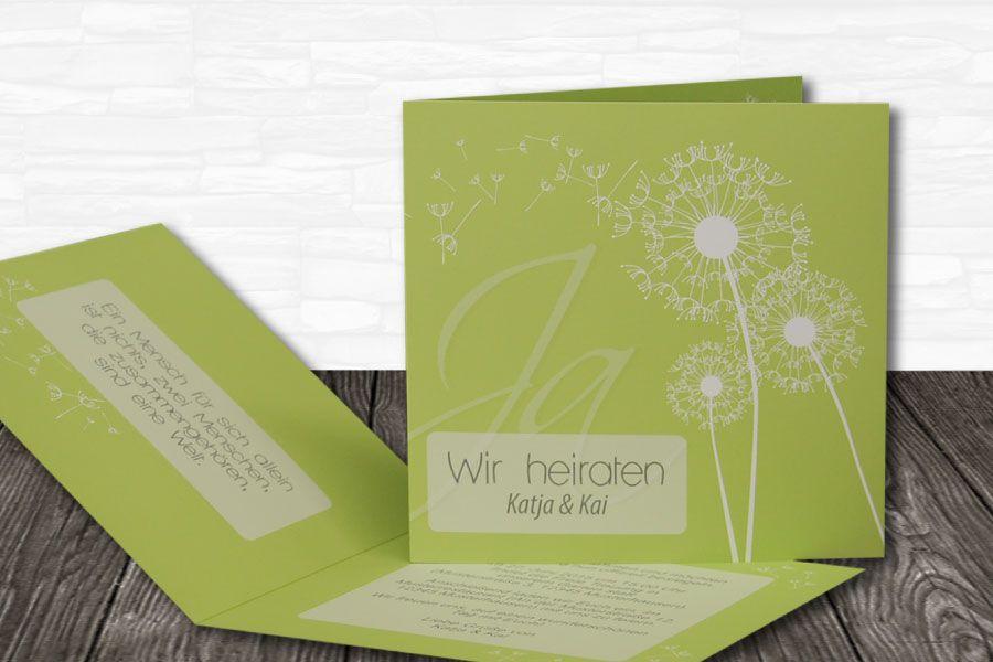 """Einladungskarte unserer Serie """"Pusteblume grün"""""""