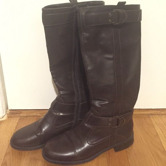 Chocolate Brown Man Made Leather Boots Basic everyday wear brown boots. Gently worn. Inside zipper. Also contains an additional zipper for expansion for wider calves. Shoes Combat & Moto Boots