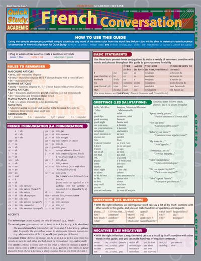 BarCharts French Conversation Quick Study Guide   Books & Teaching
