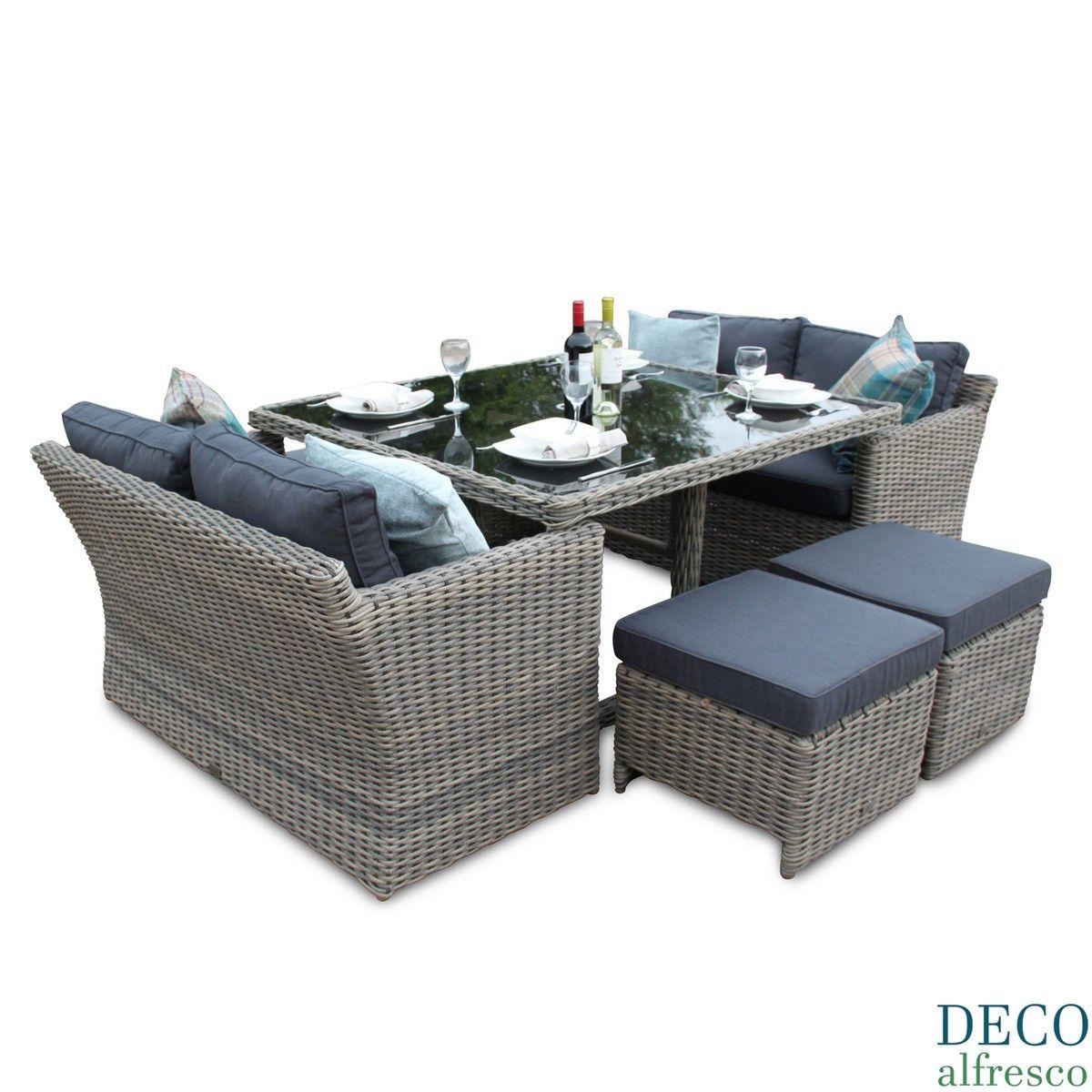 8PC High Back Sofa Cube Rattan Furniture Set - Natural Tri-weave | 3 ...