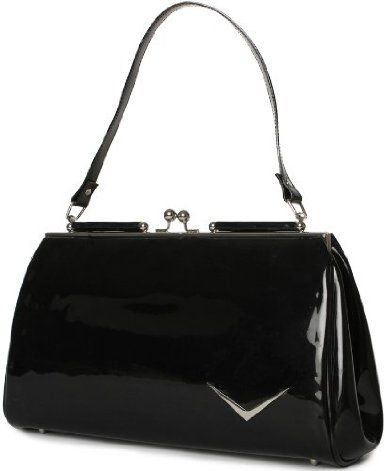 "Price: 	$79.00 | Lux De Ville ""Getaway"" Kiss Lock Vinyl Rockabilly Retro Handbag Vintage Style Purse"
