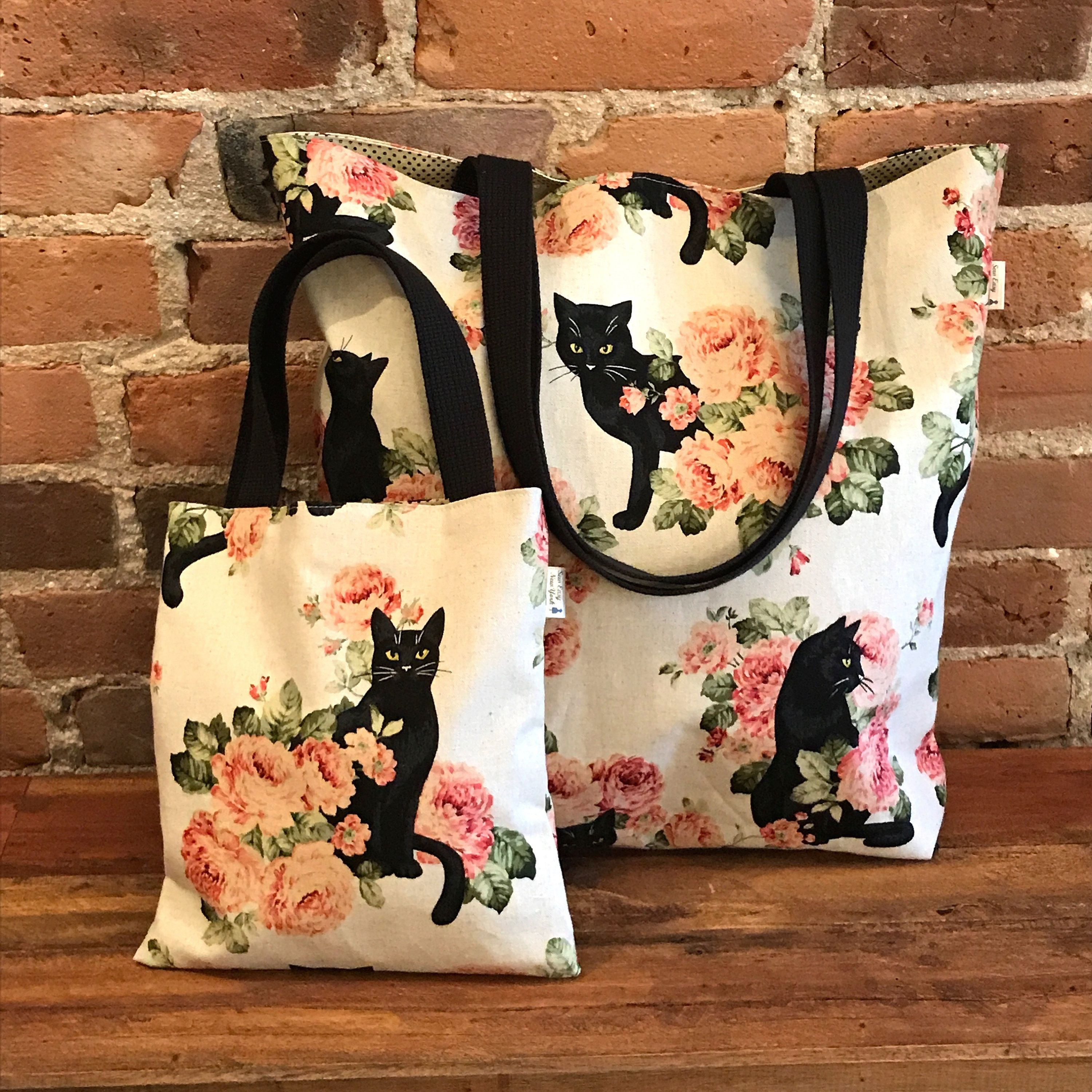 0167f92613 Black Cat with Roses Large & Mini tote bags, Cat Bags, Cat Lover, Fully  lined. Mom and Daughter, matching bags, Bag in Bag
