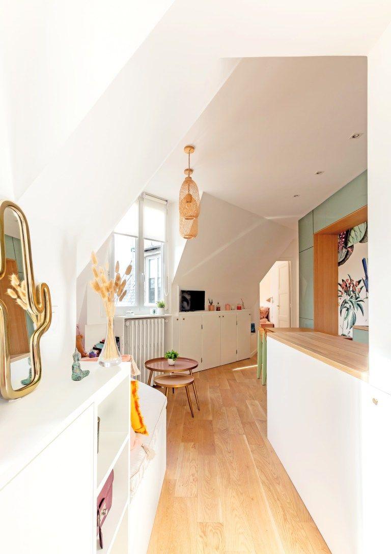 Cet Appartement De 30m2 A Paris Est Plein De Couleurs En 2020 Appartement 30m2