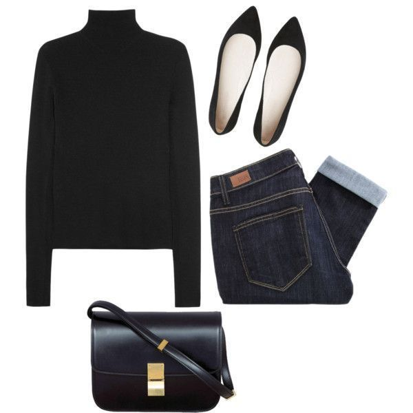 Photo of Black turtleneck sweater, skinny jeans, black pointed toe flats