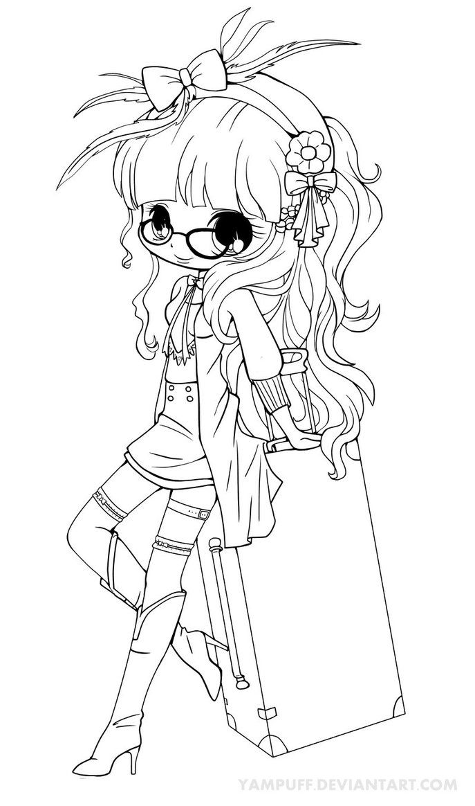 Suitcase Girl Lineart By Yampuff On Deviantart Chibi Coloring