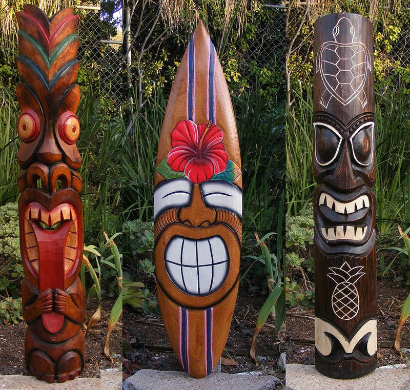 "Tiki Totem Tongue 2 face Tribal Wood Wall Mask Patio Tropical Bar Decor 40/"""