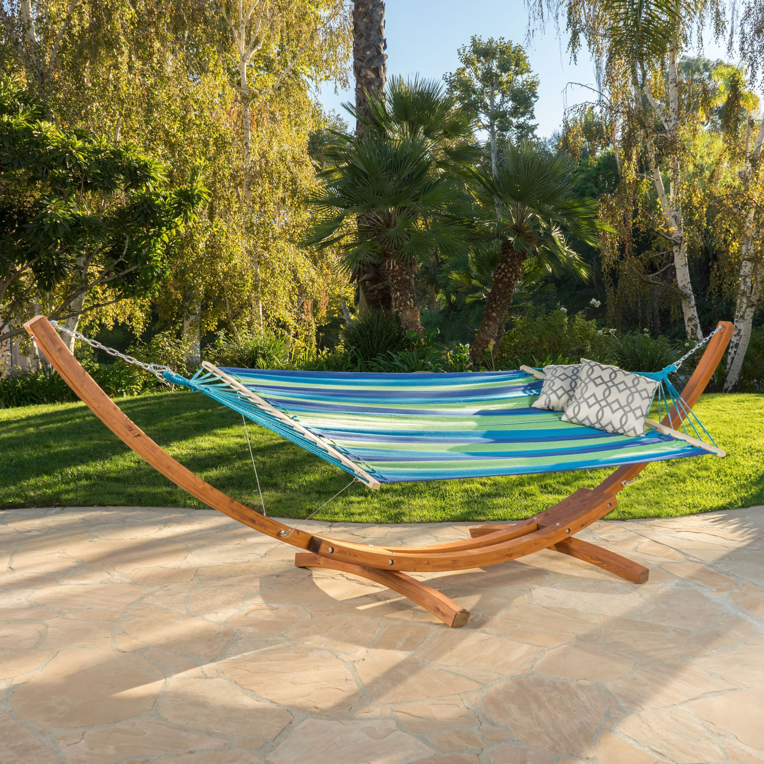 Ad malibu blue green teal stripe outdoor hammock with base hammocks