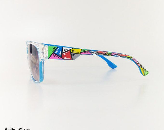 9ddacb02517 Hand painted sunglasses - colorfull unisex Custom art Wayfarer glasses  summer beach eyewear shades art guy