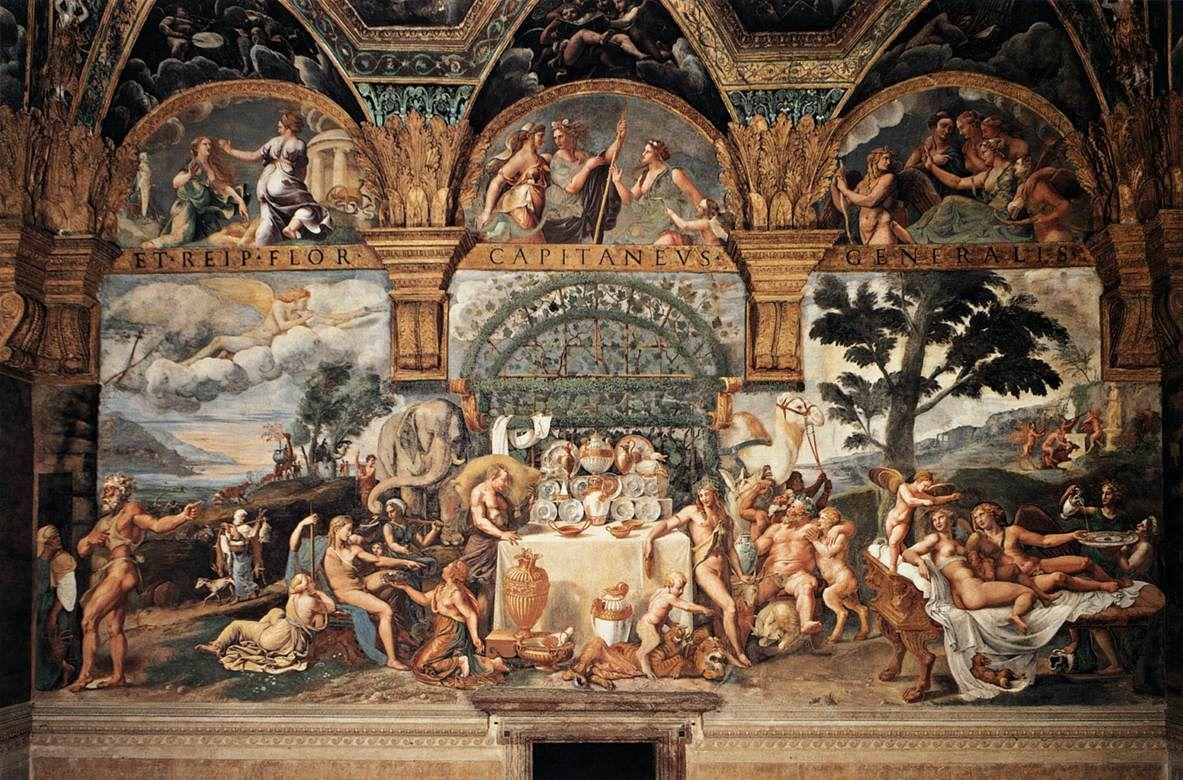 Giulio Romano's fresco 'The Wedding Feast of Cupid and Psyche' (c. 1525-1535) in the Palazzo del Te, Mantua.