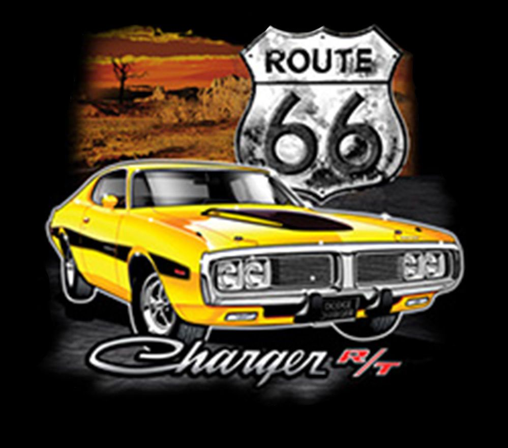 Dodge Charger Route 66 Highway American Muscle Car Hot Rat Rod Auto T-Shirt Tee  | eBay