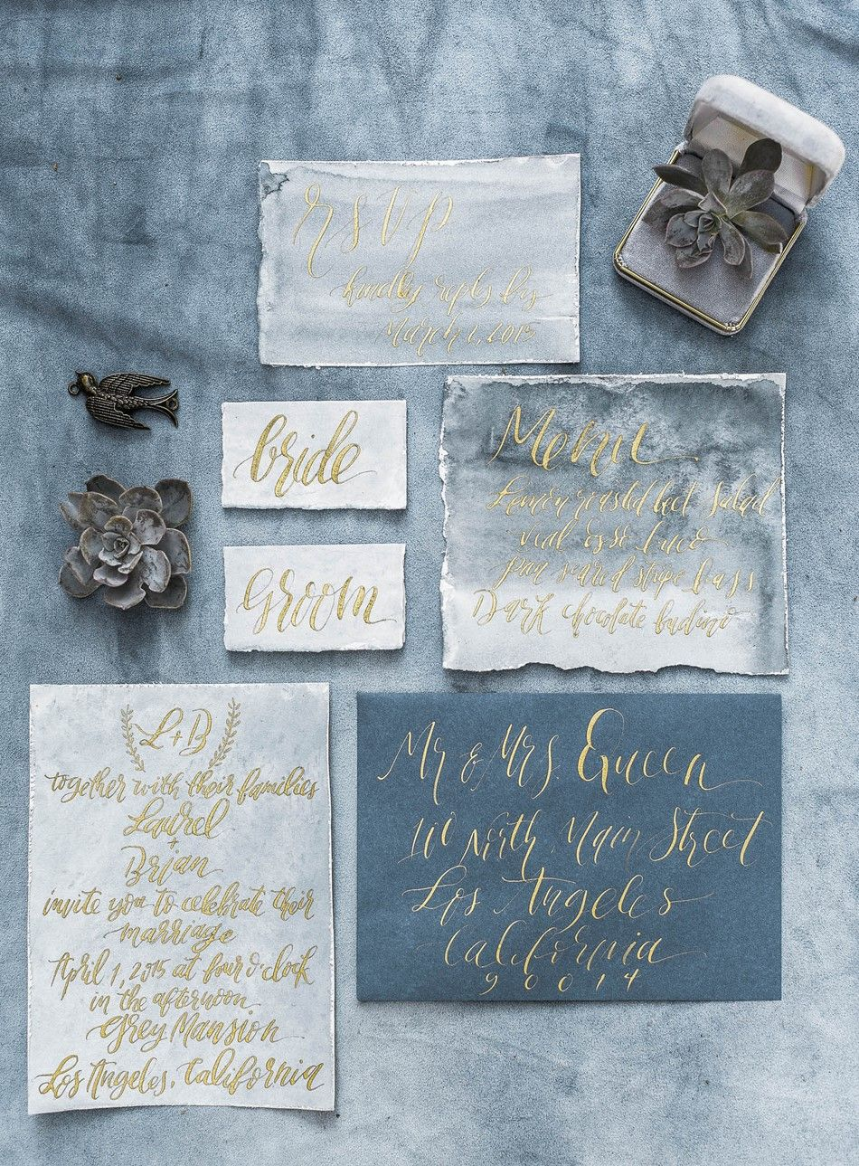Blue Gold Watercolor Calligraphy Wedding Stationery Suite