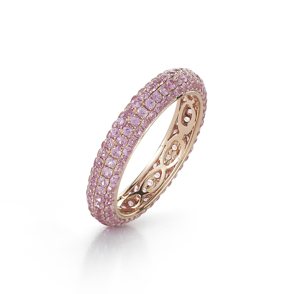 Melissa Louise ring is 14K rose gold with pink sapphires by Dana Rebecca