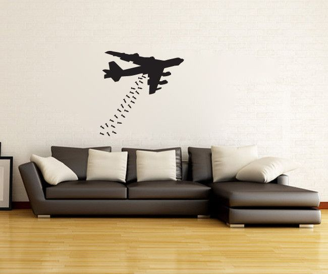 B Bomber Airplane Silhouette Vinyl Wall Decal Sticker Measures - How to make vinyl wall decals with silhouette