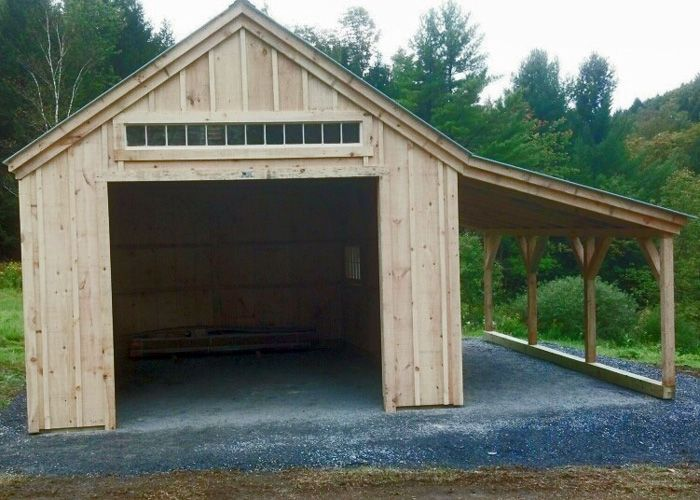 One bay garage kit concrete slab sash windows and evergreen for 2 bay garage kit