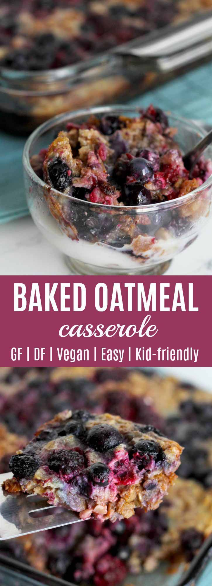 Baked Oatmeal Casserole (Healthy, Easy) You are going to love making and eating this Baked Oatmeal Casserole! Berries, cinnamon, walnuts, eggs, milk (any kind), and breakfast goodness all in one pan. #breakfast |