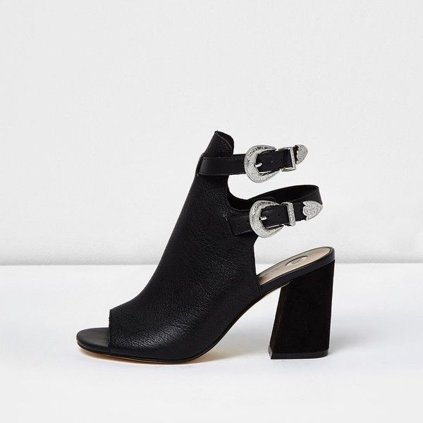 Womens Black double buckle shoe boots River Island 7n9Kq