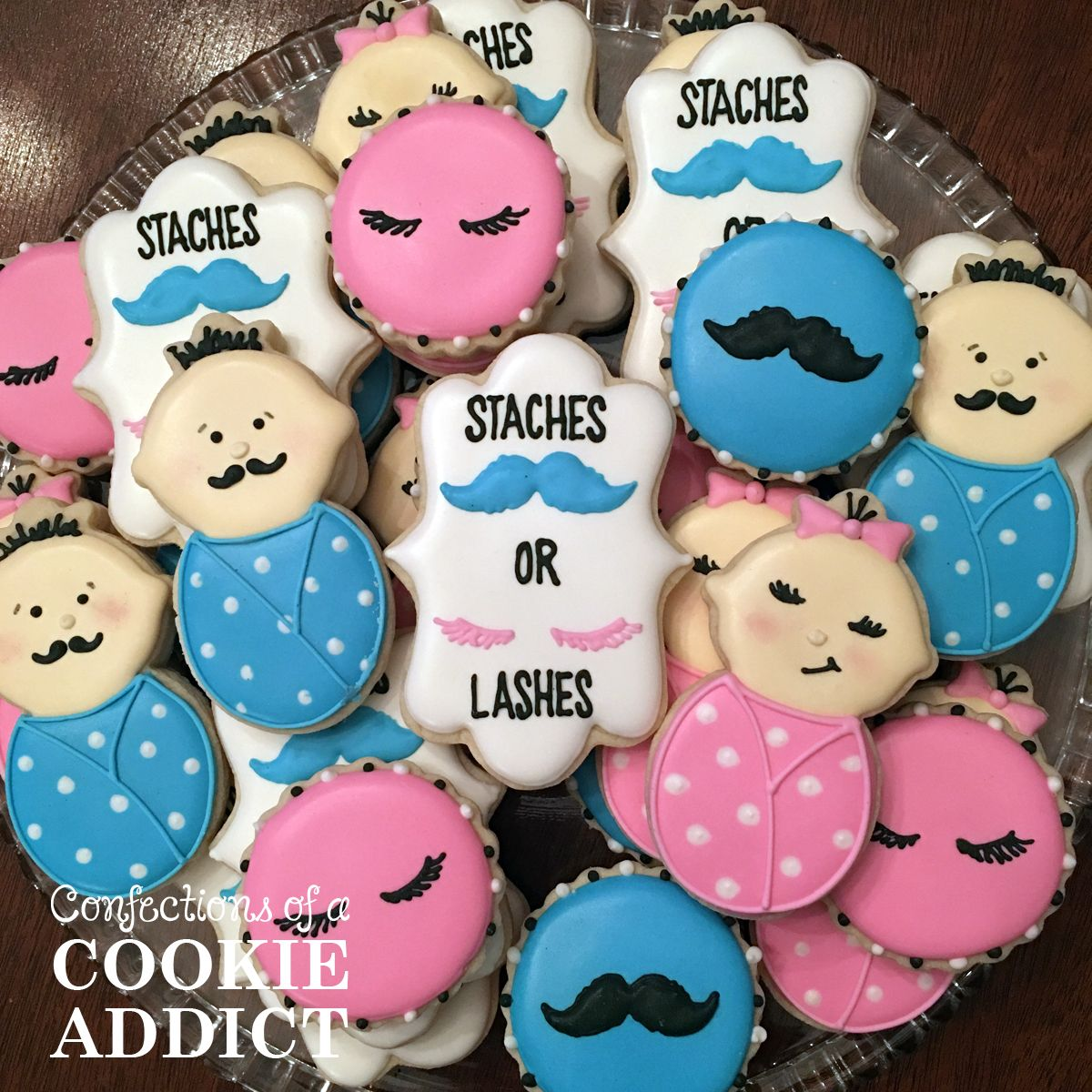 Staches And Lashes Cookies Gender Reveal Cookies Gender Reveal Candy Gender Reveal Party