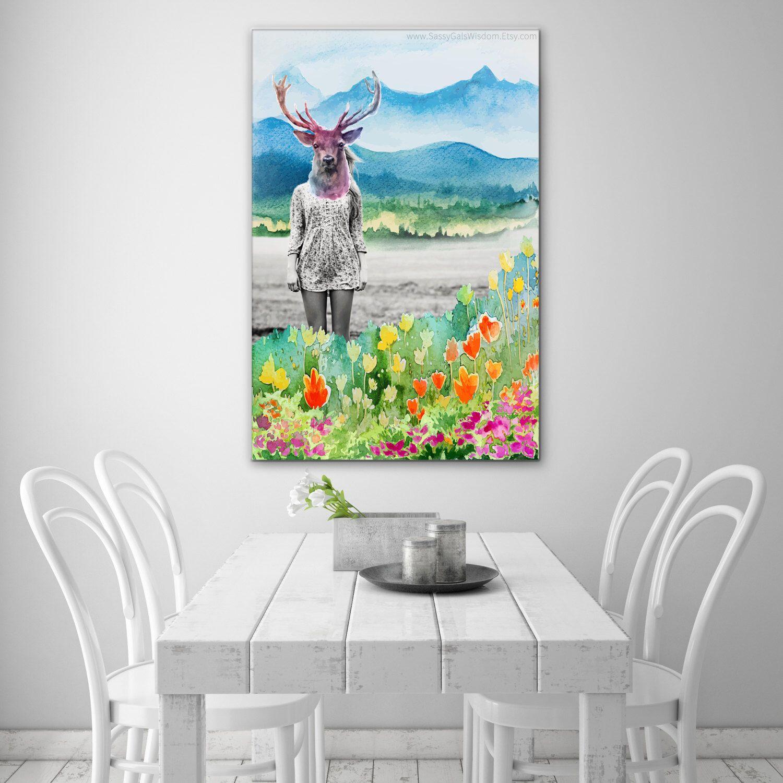 Bohemian home decor, contemporary art, abstract wall art, modern art ...