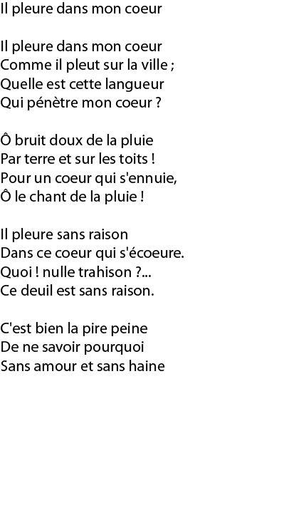 Paul Verlaine Il Pleure Dans Mon Coeur Poeme Et Citation