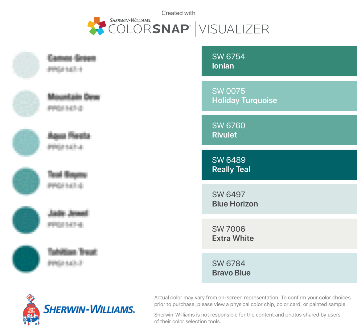 Matching Glidden Colors With Colorsnap Visualizer For Iphone By Sherwin Williams Ion Sherwin Williams Color Palette Sherwin Williams Colors Teal Paint Colors