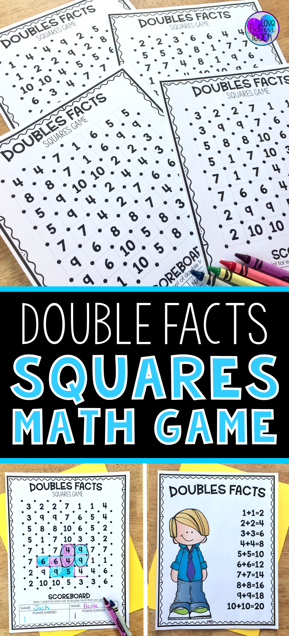 Double Facts Squares Math Game | Doubles facts, Math rotations and Math