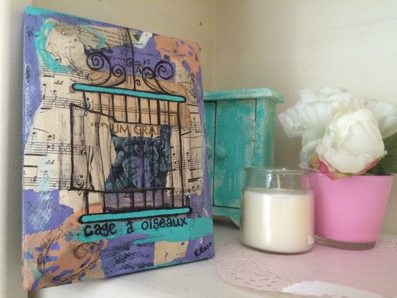 Bird cage mixed media collage on upcycled wood by LexiconOfLove
