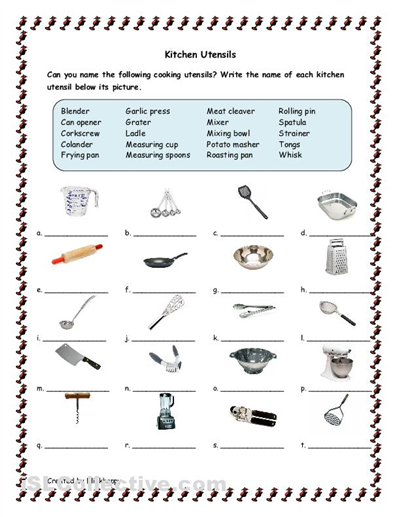 Kitchen tools and utensils for classroom kitchen for Kitchen equipment and their uses