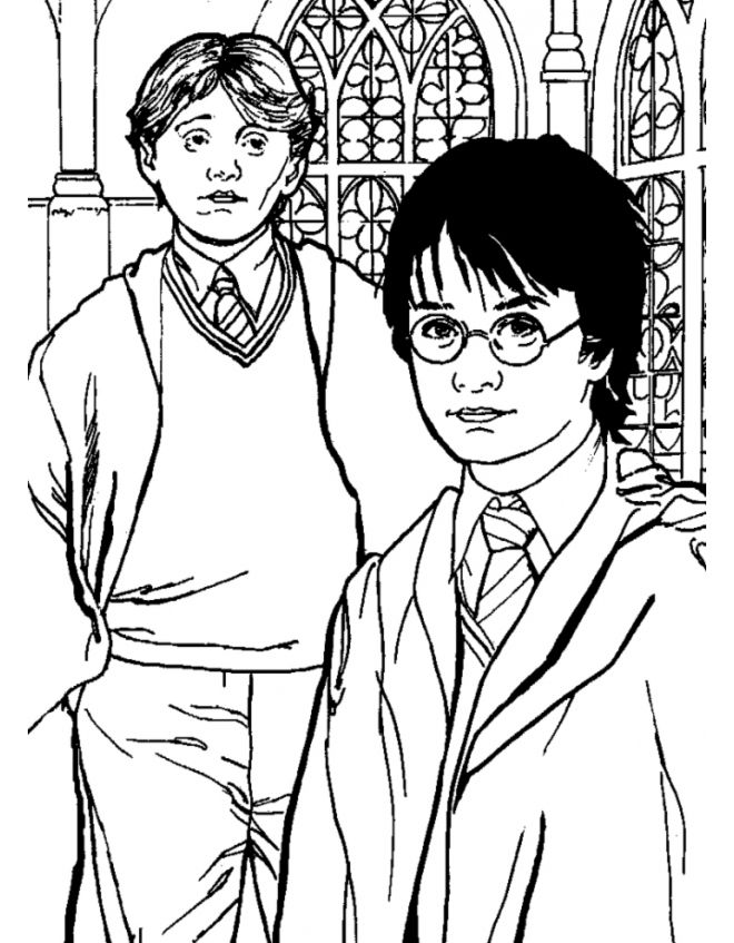 Harry Potter And Ron Weasley Posing Harry Potter Coloring Pages