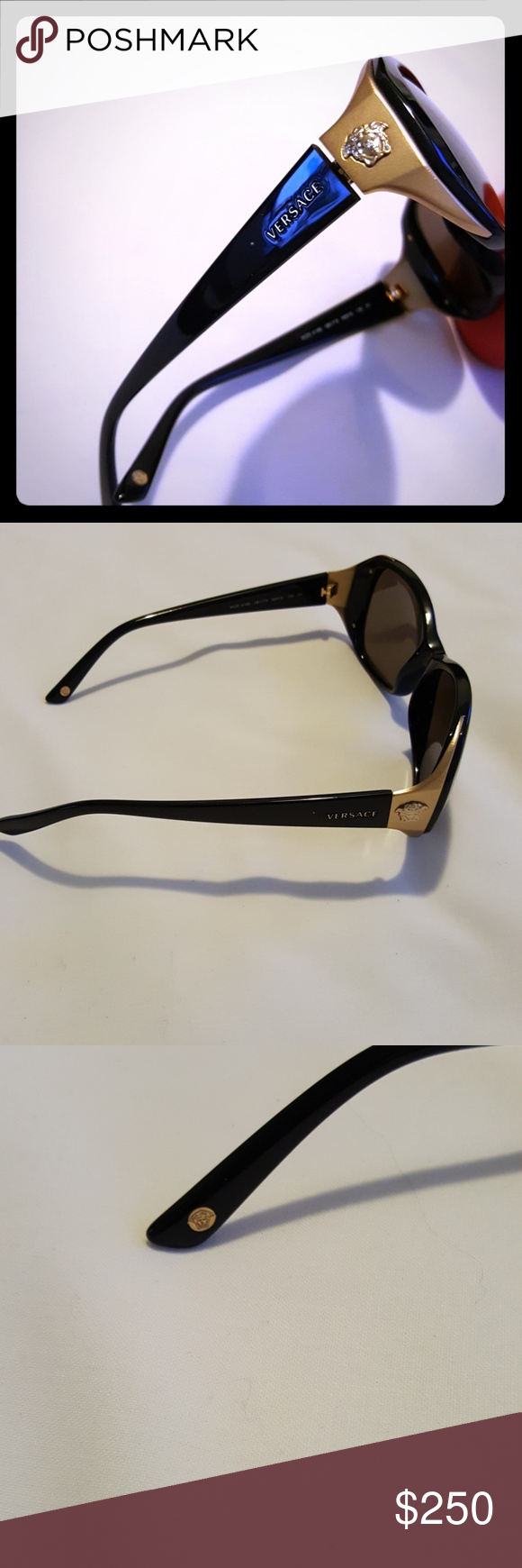 c43c342a894a PRICE DROP💚💛💜VERSACE SUNGLASSES VERSACE LOGO gold frame with black..so  elegant Versace Accessories Glasses