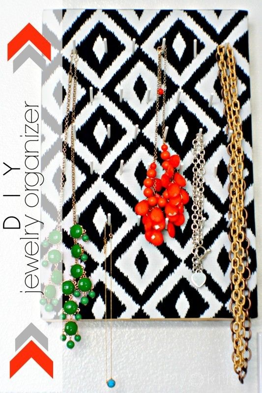 DIY Hanging Jewelry Organizer using styrofoam fabriclollipop
