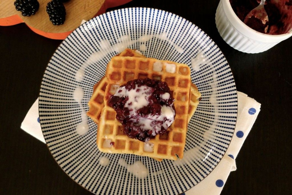 Against All Grain Waffles with Blueberry Jam and Coconut Milk