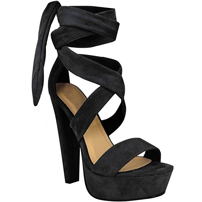 Fashion Thirsty Womens Tie Lace Up Ankle High Heels Block Platforms Party Open  Shoes Size 5