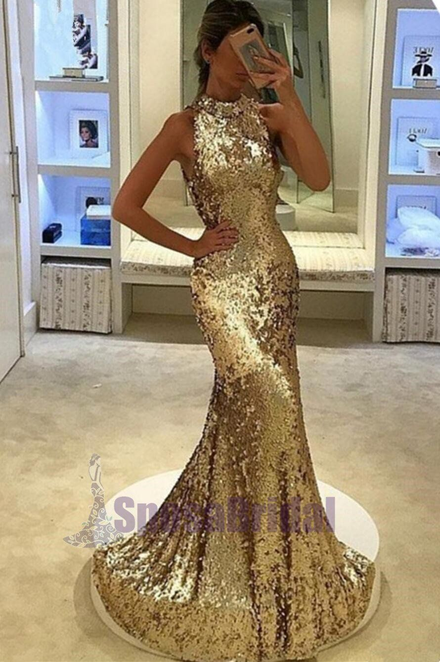 Sequin sparkly yellow silver high neck fashion prom dresses party