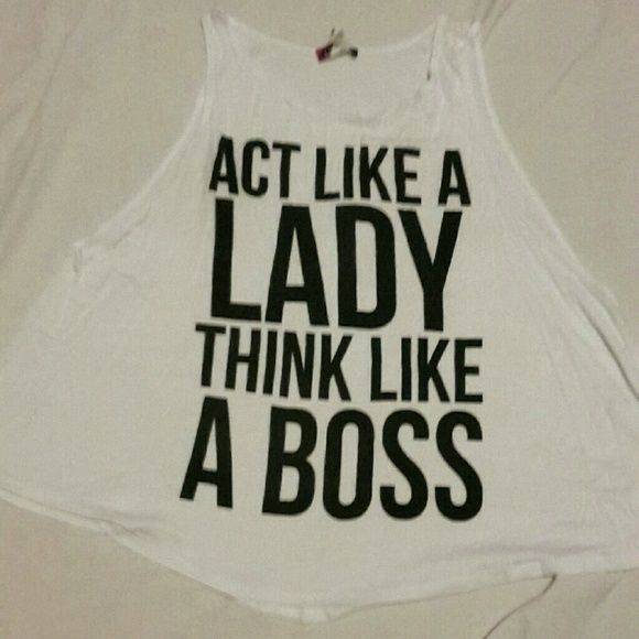 Boss Lady Shirt! Cute graphic muscle shirt from Body Central!  Loose material. Loved it but trying to change up my style. Body Central Tops Tank Tops