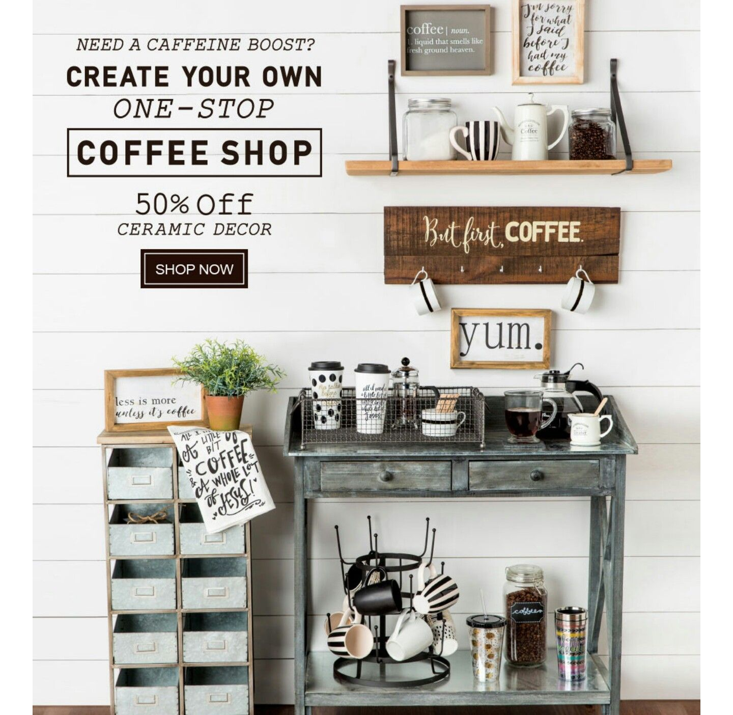 Hobby lobby....want this set up Coffee bars in kitchen