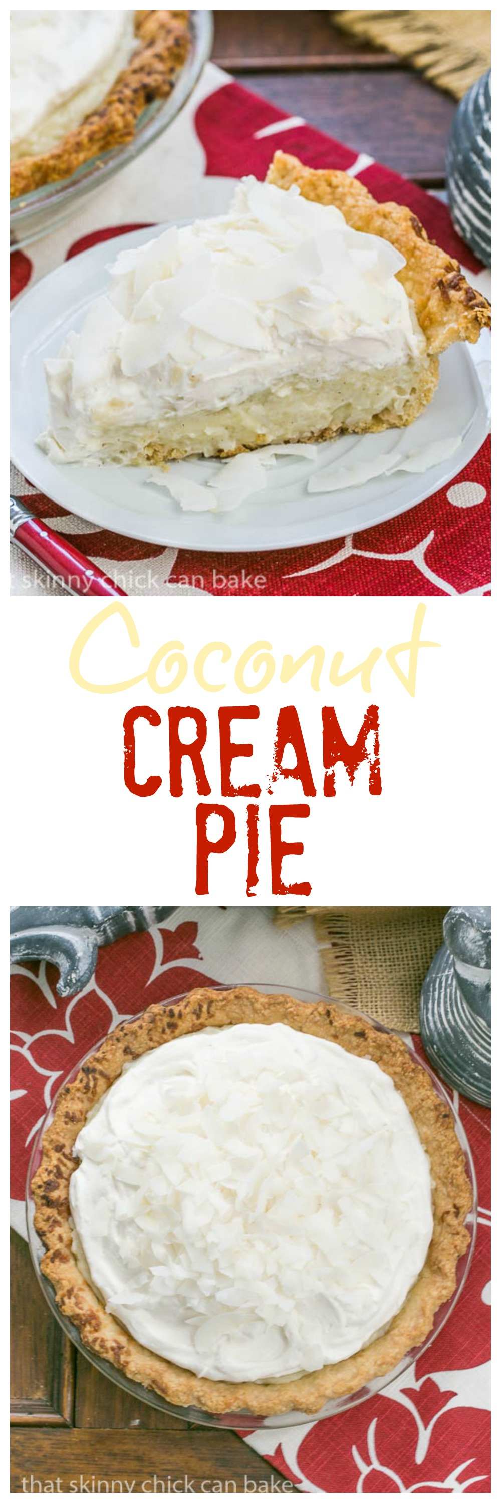 Coconut Cream Pie   Coconut crust filled with creamy coconut laden custard with a decadent whipped cream topping! @lizzydo