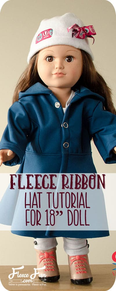 18 Inch doll fleece hat free pattern tutorial I love this