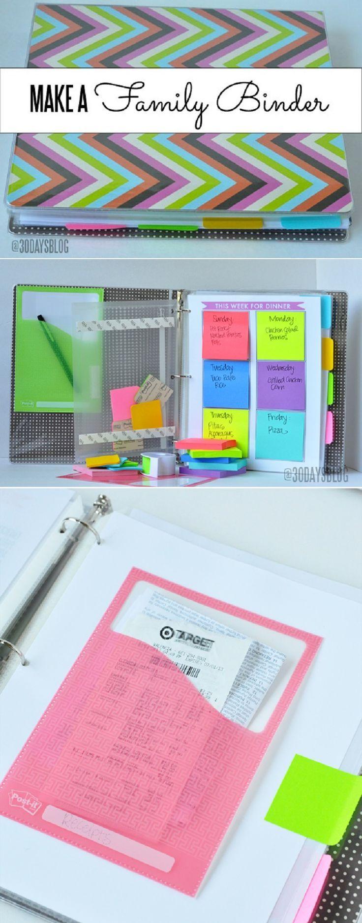 Family Binder - 12 DIY Binder Organization Projects | Keep the whole family organized with these ideas. | www.thirtyhadmadedays.com