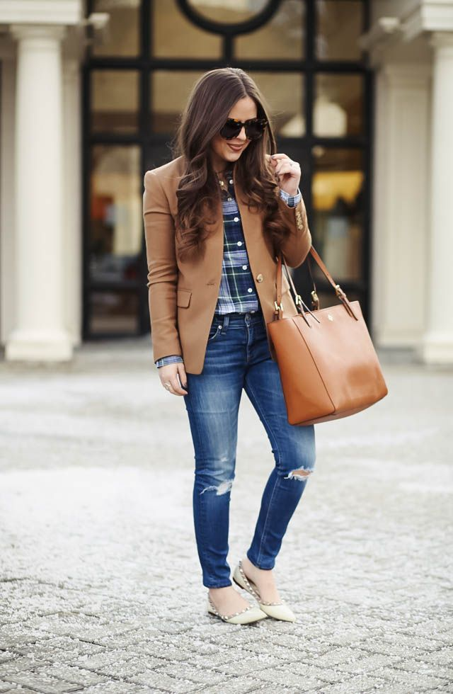 6fd6946d4 corilynn. Navy plaid shirt+distressed denim+natural studded pointed  ballerinas+camel blazer+camel tote bag+sunglasses. Winter Smart Casual  Outfit 2017