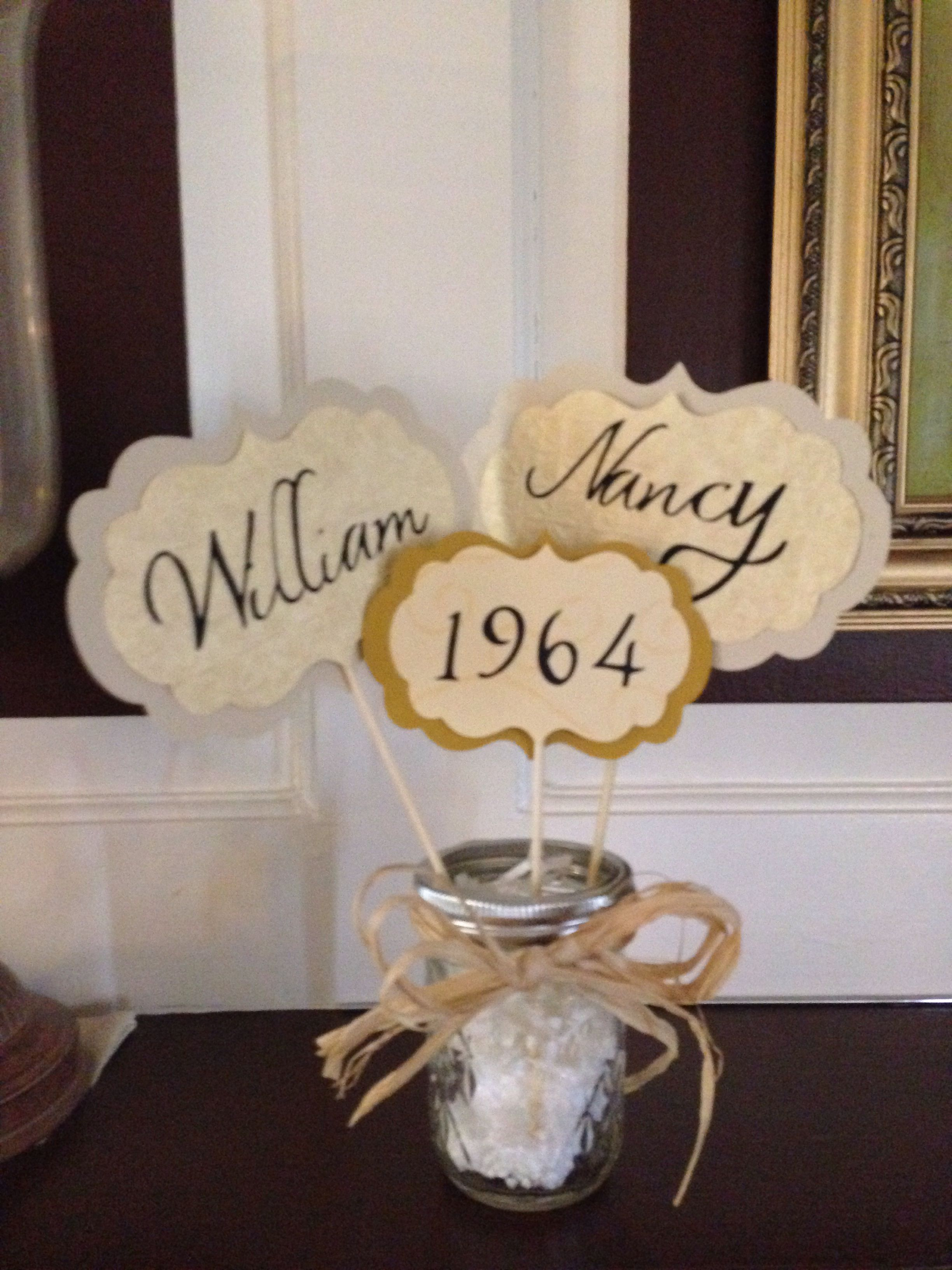 Table center pieces for parent's 50th Anniversary (With