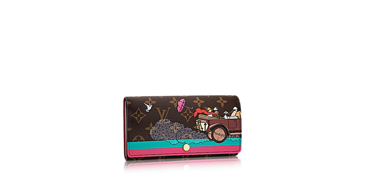 Discover Louis Vuitton Sarah Wallet Evasion: Ideal gift, this witty and colorful limited edition, inspired by an historical advertisement from 1921, pays tribute to Louis Vuitton's travel heritage. The Sarah Evasion Wallet in Monogram adorns the classic Sarah wallet whose ingenious design features a variety of pockets and credit card slots.