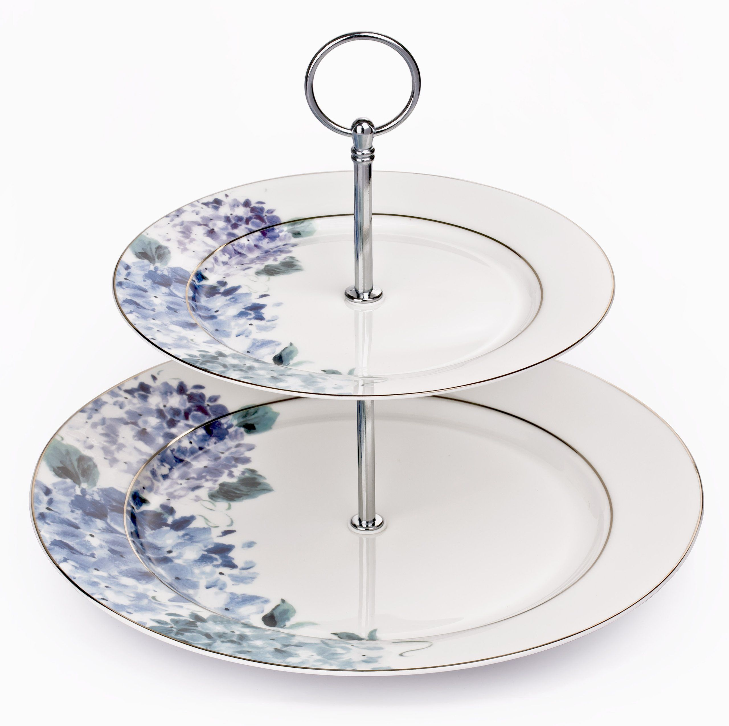 2 tier hydrangea blue bone china cake stand with chrome