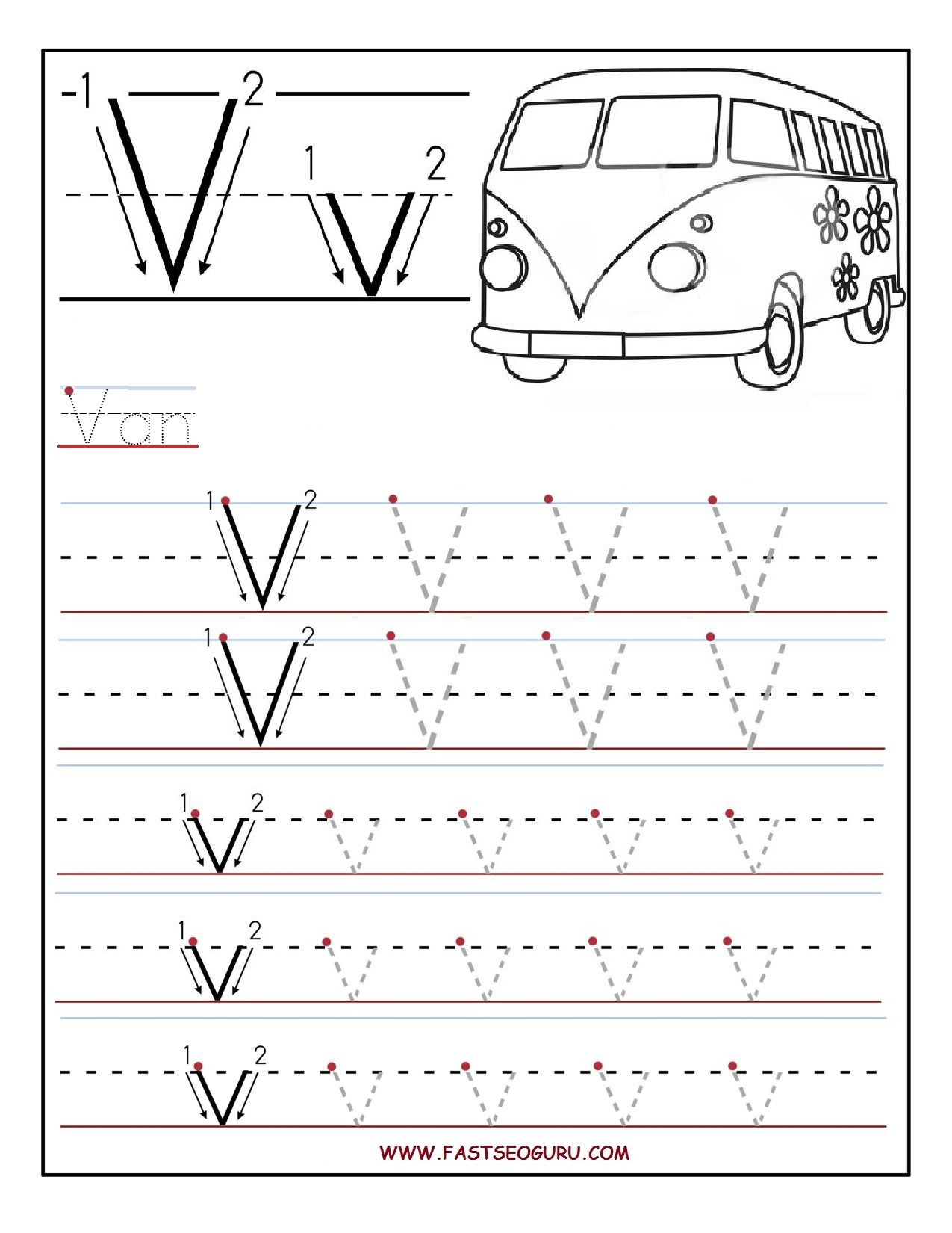 Worksheets Pre K Alphabet Tracing Worksheets printable letter v tracing worksheets for preschool pre k work preschool