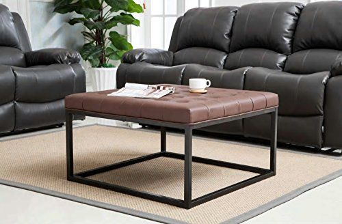 Coffee Table Ottoman Modern Button Tufted Faux Leather