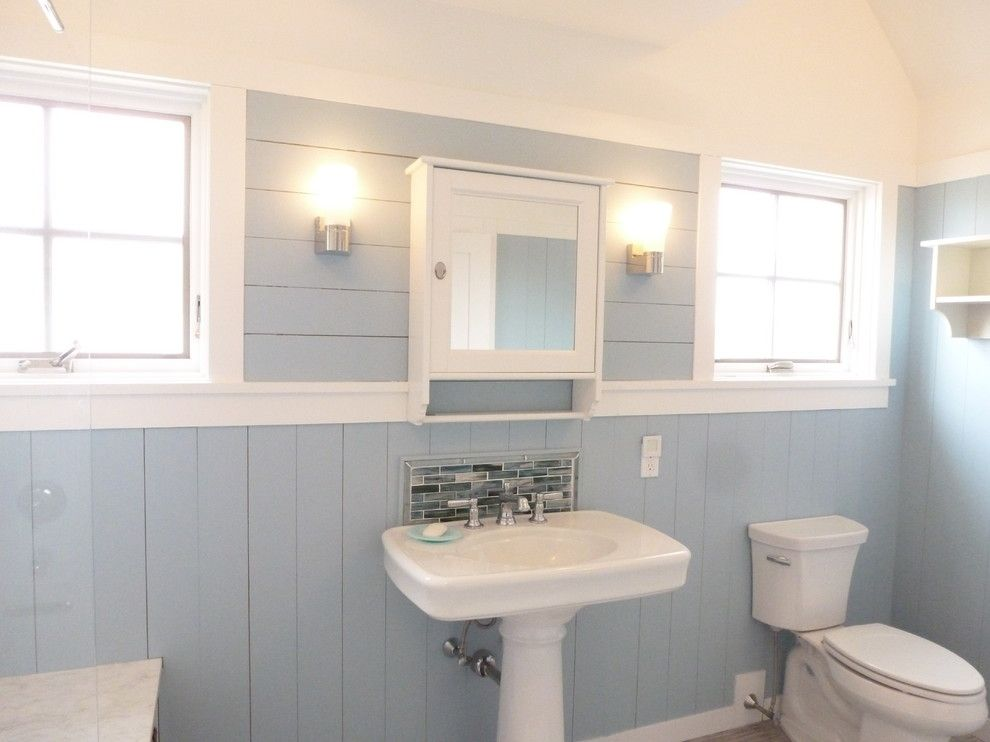 Appealing Bathroom Design Paired With Light Blue Wood Panel Equipped With Washstand Under Mirror