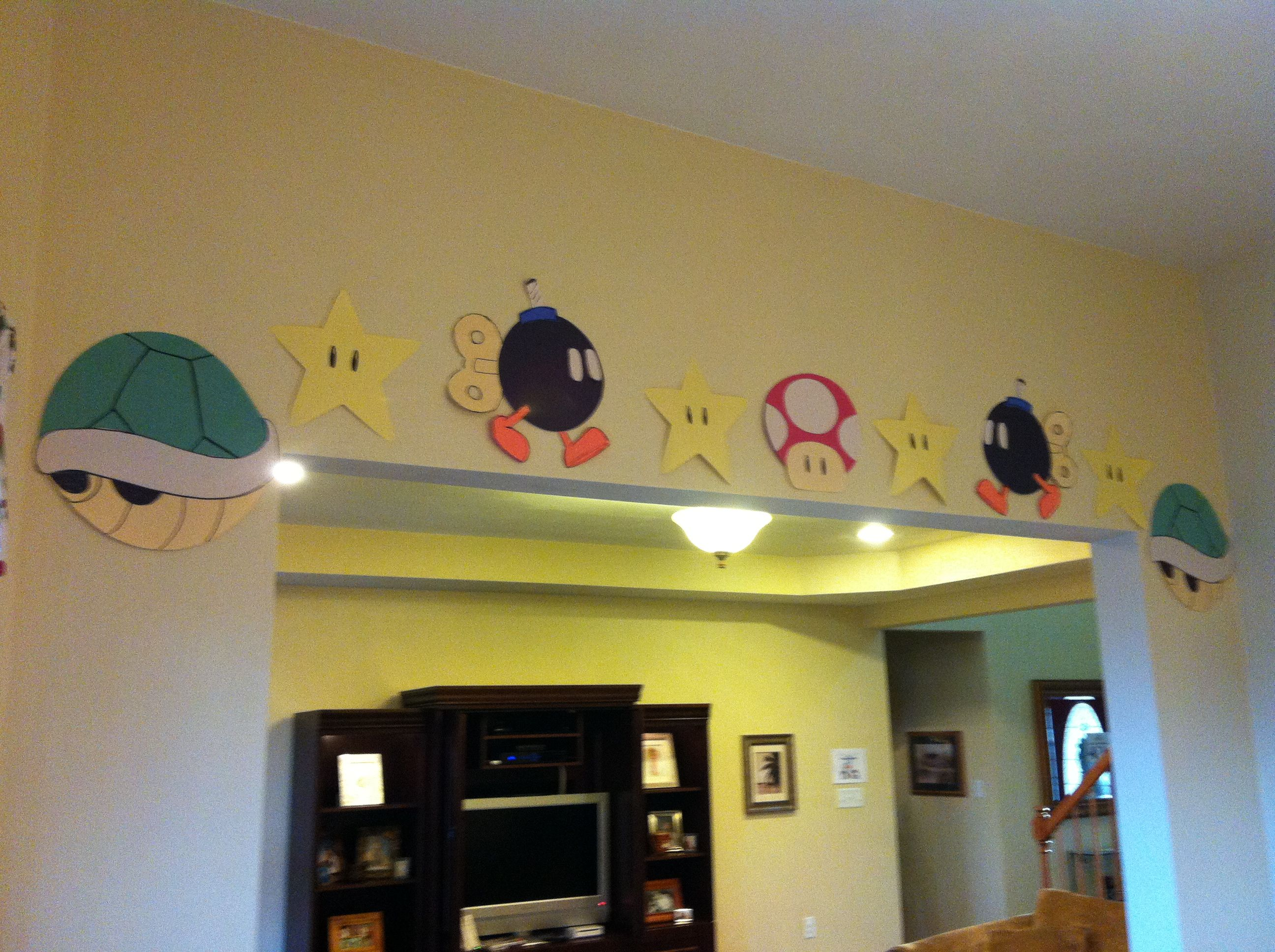 Super Mario Bros Decorations My grandson would kill for these in his room.