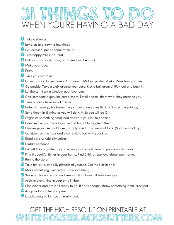 oh i so need to print this out 31 things to do to have a - Stuff To Print Out