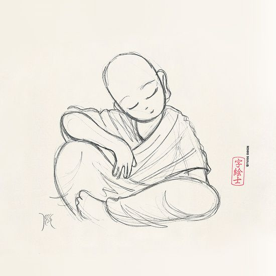 monk sketch by 7e55e buddhism meditation in 2019